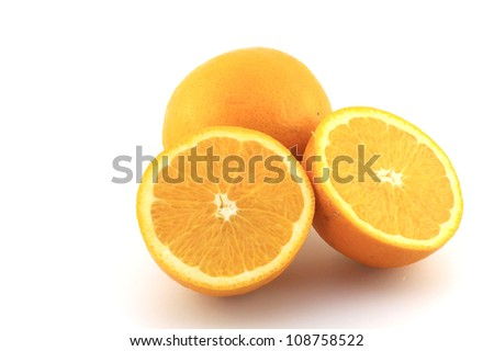 One and half navel oranges - stock photo