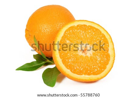 one and half of orange isolated on white