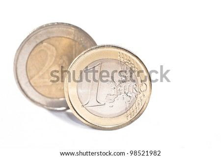One and two euro coin, isolated on the white background.selective focus - stock photo