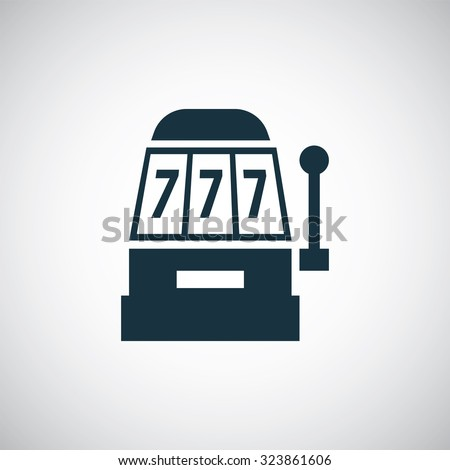 one-armed bandit icon, on white background  - stock photo
