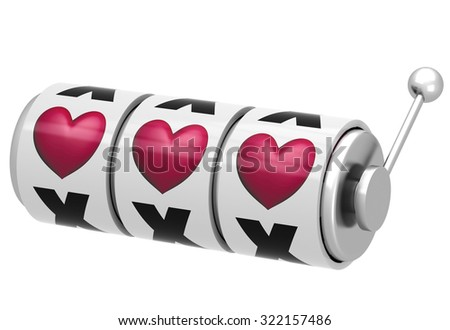 One-armed bandit with hearts - stock photo