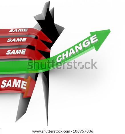 One arrow marked Change succeeds by adapting to changing conditions while several others with the word Same fall into the abyss of failure - stock photo