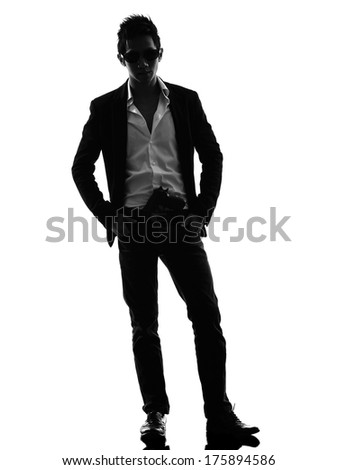 one asian gunman killer  standing in silhouette isolated white background