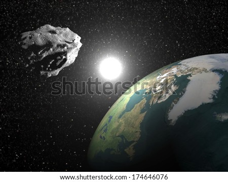 One asteroid into universe near earth planet, sun in the background - Elements of this image furnished by NASA - stock photo