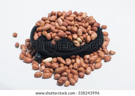 One Bag Peanuts on White background. - stock photo