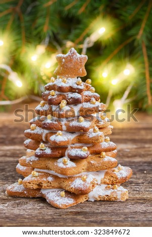 one baked gingerbread  tree with christmas lights in background - stock photo