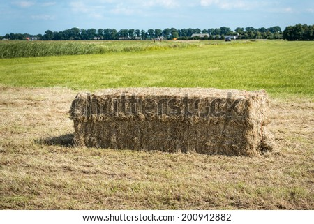 One bale of hay on a bald mowed grassland ready for transport. - stock photo
