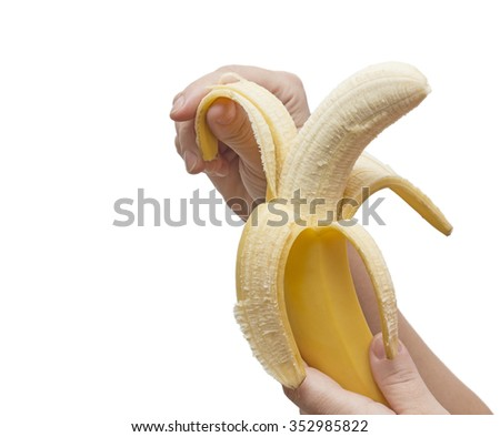 One banana on white background,banana on white background,tropical fruit,ripe banana,exotic fruit,banana,yellow - stock photo
