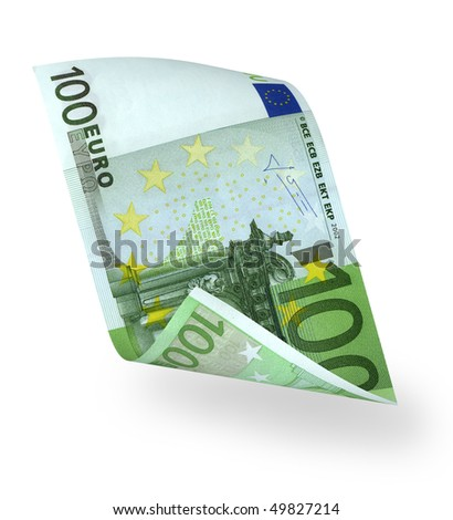 one banknote 100 euro isolated on white - stock photo