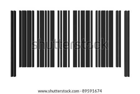 one barcode without numbers for customization (3d render) - stock photo