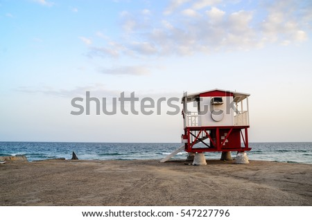 One baywatch lifeguard cabin stand lone in the beach of Doha, Qatar