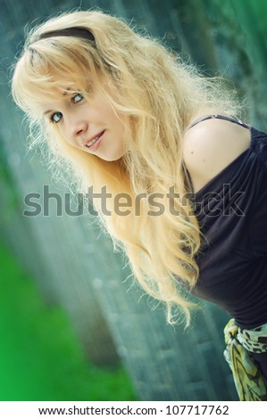 one beautiful blond woman in the city.Portrait