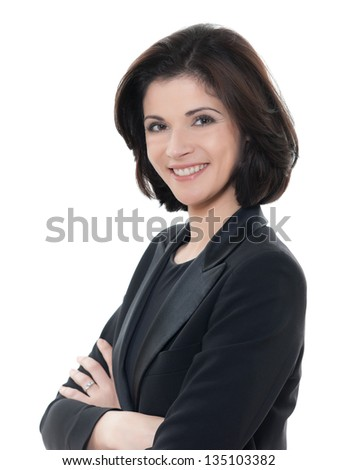 one beautiful smiling caucasian business woman portrait arms crossed in studio isolated on white background - stock photo