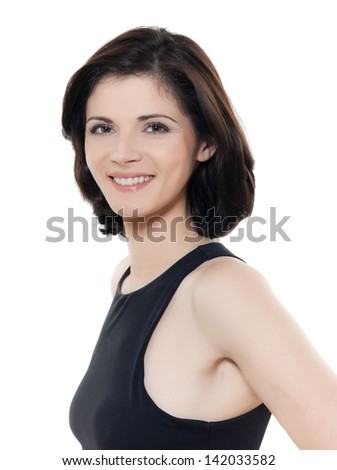 one beautiful smiling caucasian woman portrait in studio isolated on white background - stock photo
