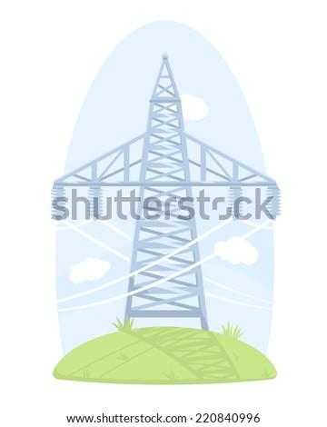 One big high voltage post - stock photo