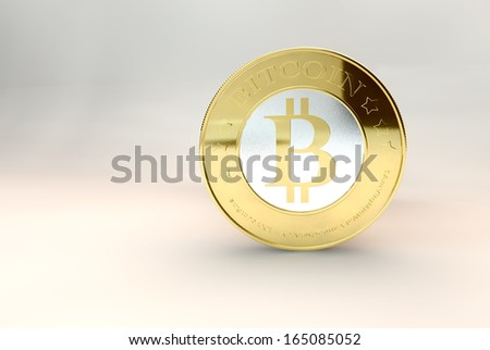 one bitcoin - bit coin BTC the new virtual money - stock photo
