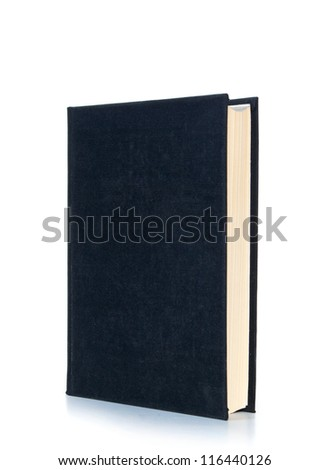 One black book isolated on white background - stock photo