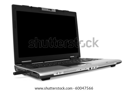 One black laptop with the white screen on white background - stock photo