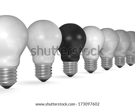 One black light bulb in row of many white ones isolated on white background - stock photo