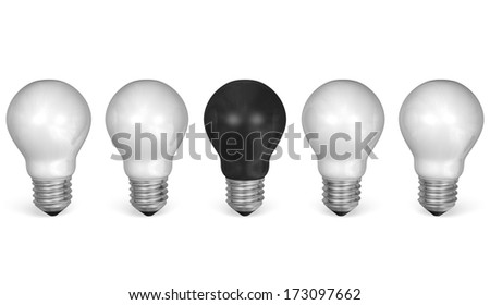 One black light bulb in row of many white ones isolated on white background. Front view - stock photo