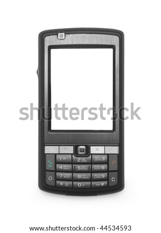 One black mobile phone with the white screen on white background - stock photo