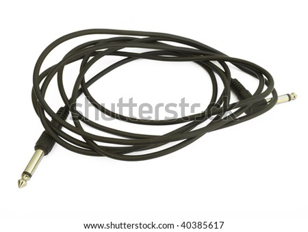 One black musical cabel isolated on white background