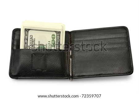 One black purse with the big pack of dollars