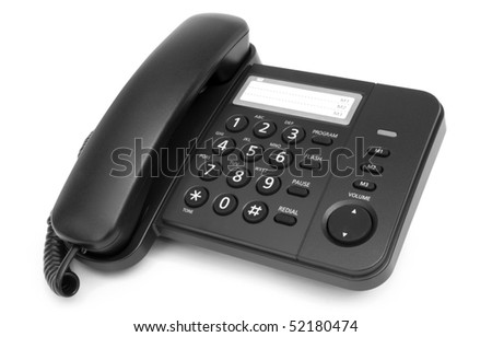 One black telephone isolated on white background - stock photo