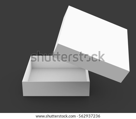 One blank empty open box in 3d illustration isolated on dark background, its lid floating in the air