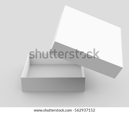 One blank empty open box in 3d illustration isolated on light gray background, its lid floating in the air