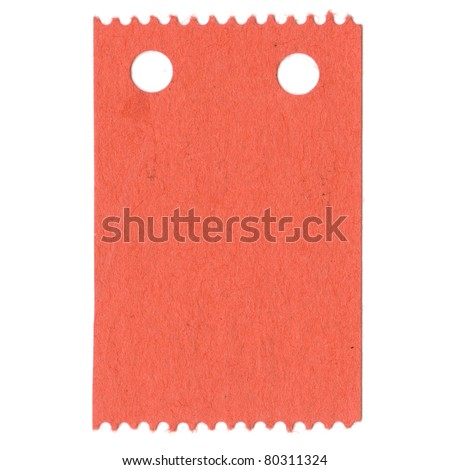 One blank take a number turn ticket, detached and isolated on white. - stock photo