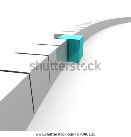 one blue cube emerging from a common chain of white cubes. 3D computer rendering - stock photo