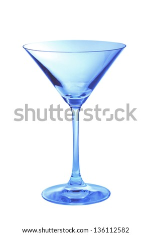 One blue empty martini glass in a vertical shot - stock photo