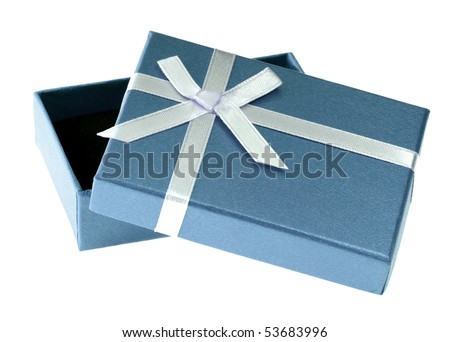 One blue gift box with white ribbon and bow and isolated - stock photo