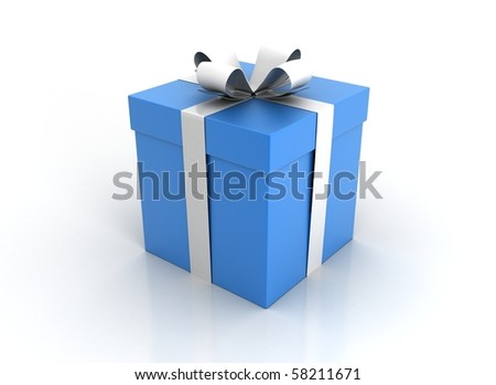 one blue gift box with white ribbon and bow isolated - stock photo