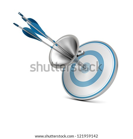 One blue target pierced by three arrows thanks to a funnel, image over white background. - stock photo