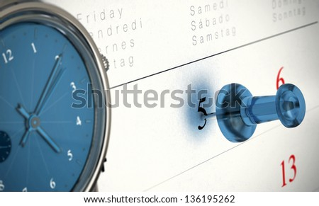 One blue thumbtack pointing on the number 5 and one clock, it is ten past five