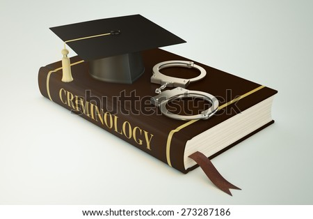 one book with a mortar board and handcuffs, concept of faculty of criminology (3d render) - stock photo