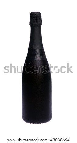 One bottle of cold champagne on white isolated