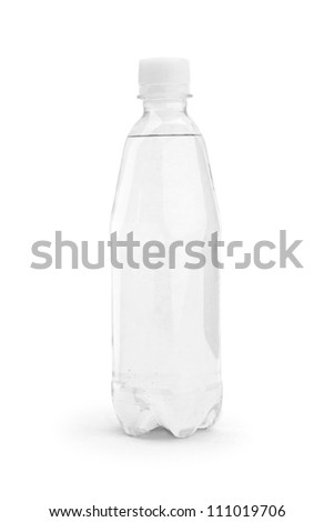 One bottle  with water isolated on white background - stock photo