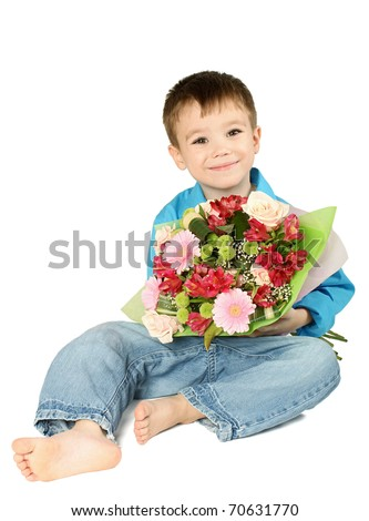 One boy sitting with bouquet of miscellaneous flowers isolated on white background - stock photo