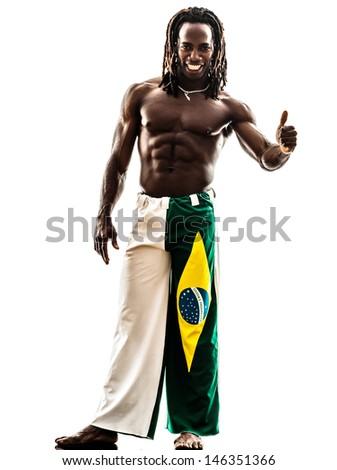 one brazilian  black man thumb up   on white background - stock photo