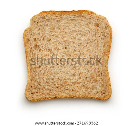 One bread slice on the white background - stock photo