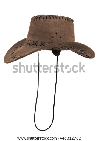 one brown chamois stetson cowboy hat,  from one side, on white background; isolated - stock photo