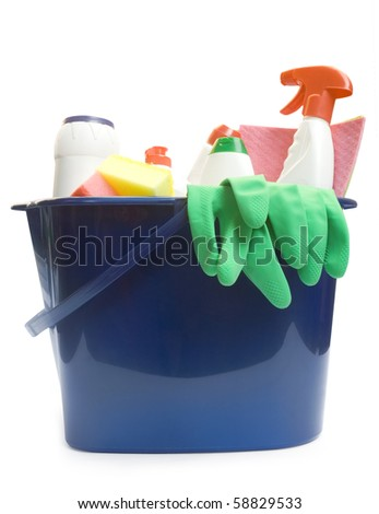 One bucket with cleaning supplies isolated on white