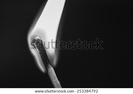 One burning match on black background - stock photo