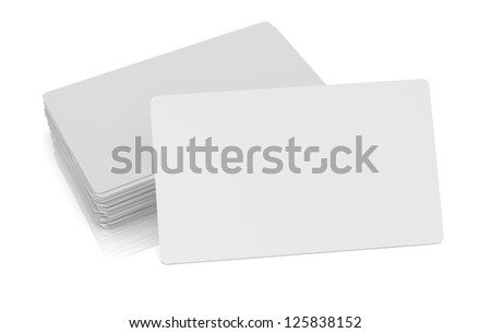 one business card with blank space for custom text or image and  a stack on background (3d render) - stock photo