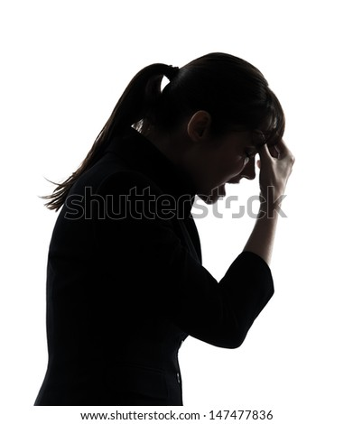 one business woman headache tired  silhouette studio isolated on white background - stock photo