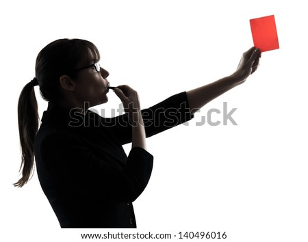 one business woman showing red card  silhouette studio isolated on white background - stock photo