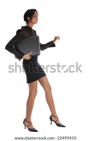 One business woman with long legs walking - stock photo